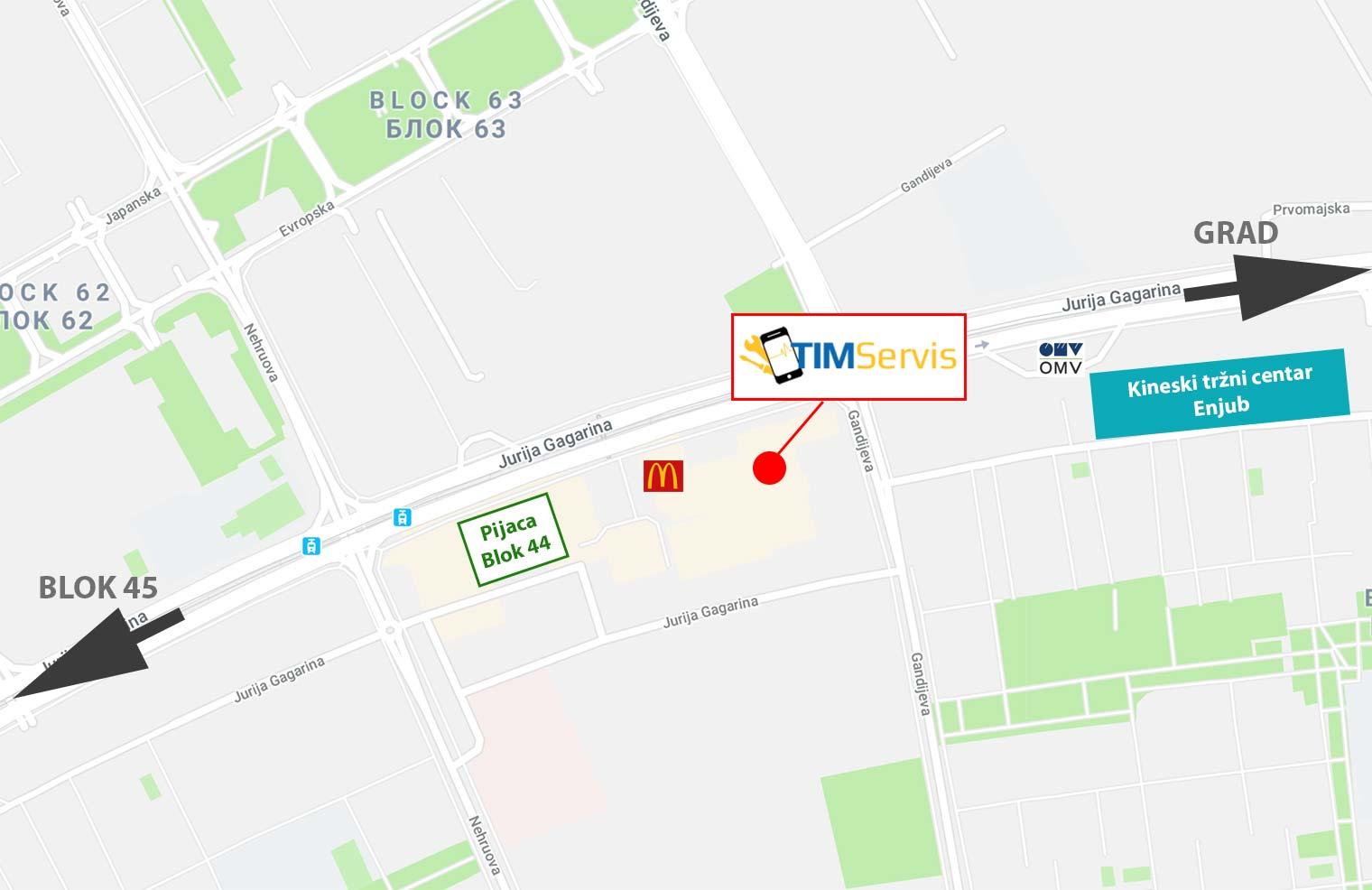 jurija gagarina beograd mapa Kako do nas   Mapa i lokacija   Tim Servis Beograd jurija gagarina beograd mapa